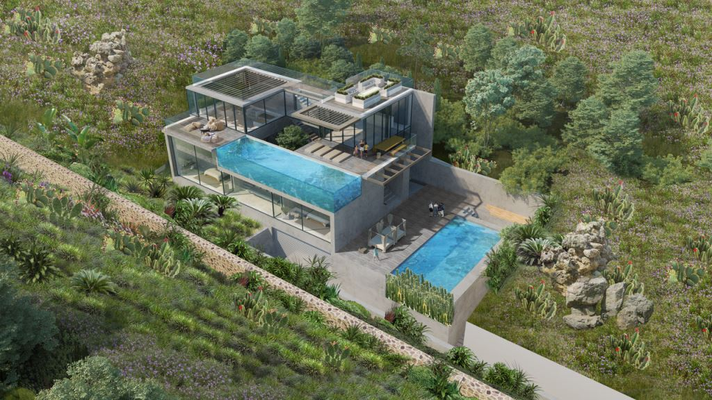 Plot with high end project  with 2 swimming pools and stunning views near Cala Tarida