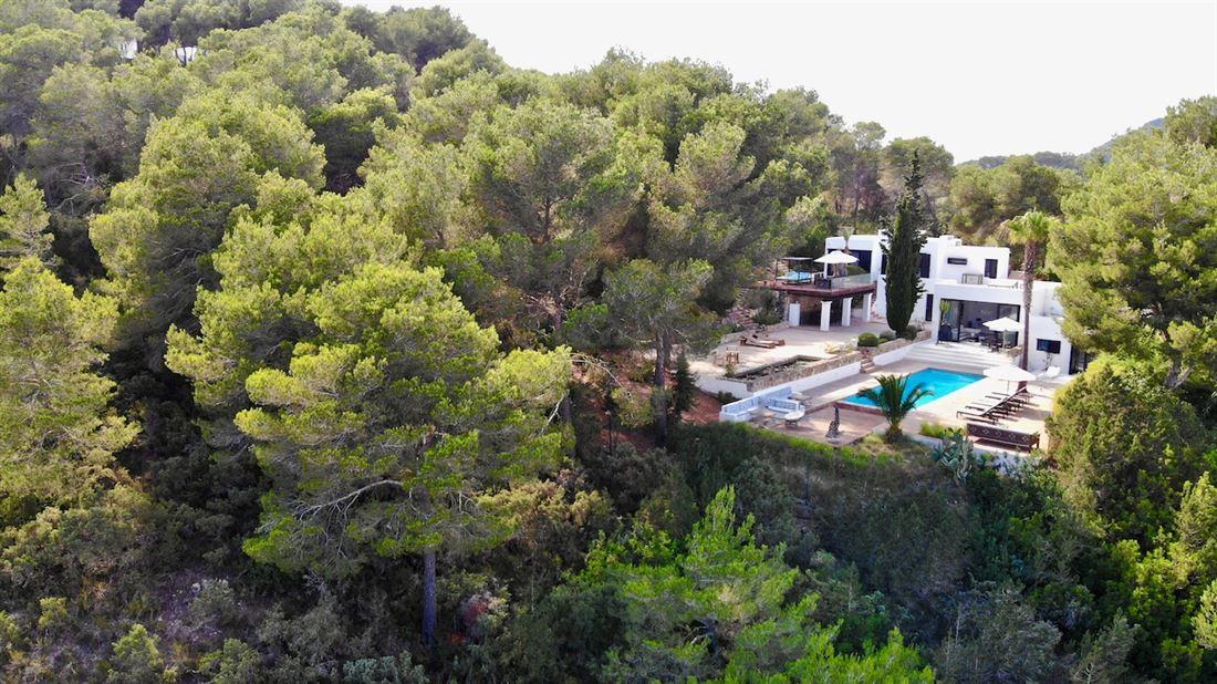 Modern luxurious villa high on hill overlooking Ibiza town for sale